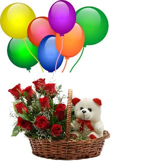 8 Air Blown Balloons with 8 Red roses 6 inches teddy in the same basket