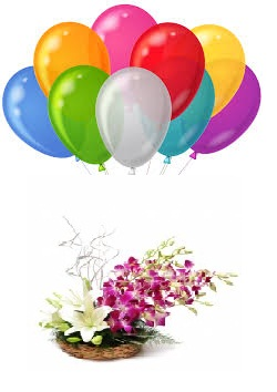 3 Air filled balloons with Basket of White Lily Orange Blue roses and red Gladiollus