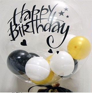 Clear transparent bubble with balloons inserted inside big bobo balloon with letter happy birthday