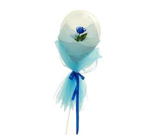 Clear transparent bubble with rose blue wrapping and ribbons