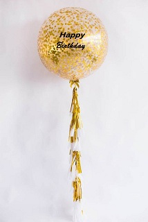 Gold Bright Confetti balloons with happy birthday print on balloon