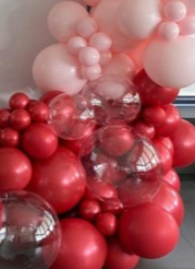 50 red pink and 3 bubble balloons