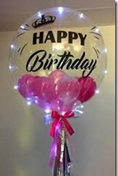 1 bubble transparent balloon with happy birthday print on balloon and pink balloons inside with led lights