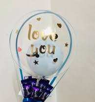 One bobo bubble balloon with love you print and assorted chocolates bouquet