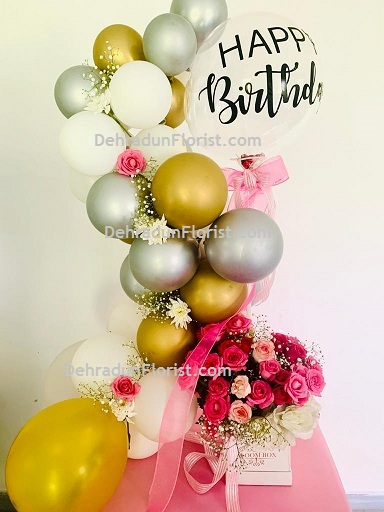 30 Silver Gold and White with Happy Birthday printed Metallic Chrome Balloons Air filled 12 roses