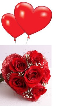 2 Red Air Blown balloons 6 Red Roses Heart