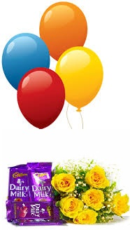 4 Blown balloons 6 yellow roses hand tied 4 Dairy milk chocolate bars