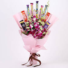 6 Purple Orchids 10 Small Mix Chocolates Bouquet