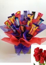 Assorted 15 cadbury chocolates in a bouquet 3 Roses