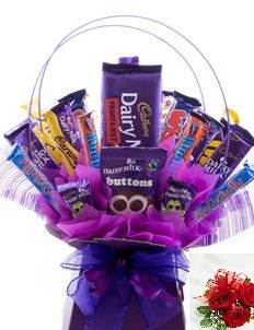 Assorted 20 cadbury chocolates in a bouquet 3 roses