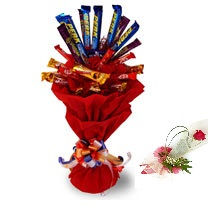 Assorted 10 cadbury  chocolates in a bouquet 1 Rose