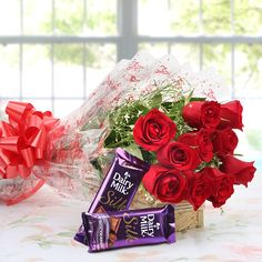 8 Red Roses 2 Small Silk Chocolates