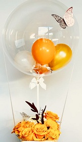 15 yellow roses basket with 2 yellow white Balloon in colourless balloon