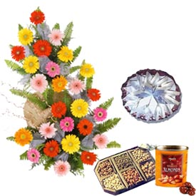 1 kg Dry fruits box of chocolates 1 kg Kaju katli 30 flowers basket
