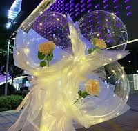 3 LED Luminous Balloon Rose Bouquet with Light balloon with white yellow Wrapping