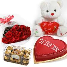 12 roses 1 kg heart cake 6 inch teddy and 16 ferrero