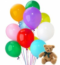12 air inflated balloons with 6 inches Teddy