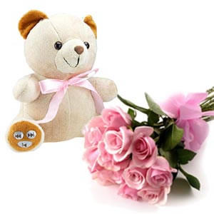 Teddy with 30 pink roses bouquet