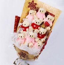 Bouquet of 8 teddies