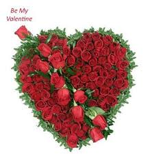 100 Red roses heart