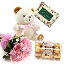 Card + 16 Ferrero Rocher Chocolates + 12 Pink Roses +Teddy