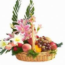Fresh Fruit and assorted Flowers all in one basket