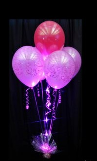 6 Pink and red sparkle table decoration balloons on stick arranged in a box with ribbons