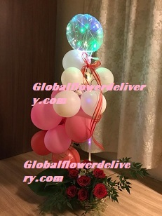 Led Light balloon Pink red white air balloons arrangement with roses