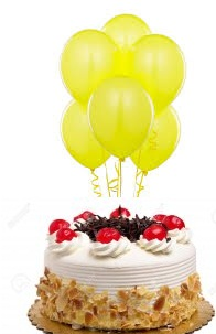 6 Yellow air Balloons with 1/2 Kg Black Forest Cake