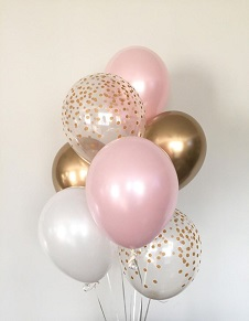 2 Pink 2 clear with gold confetti and 2 gold balloons on the stick air filled