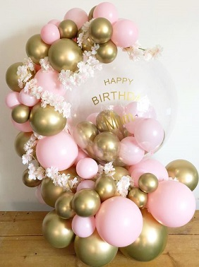 Happy Birthday Printed balloon with 30 Gold and Pink balloons decorated with white flowers