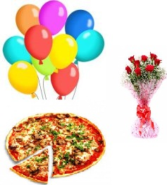 Medium Domino Veg Pizza with 8 Red roses Hand tied and 8 air balloons