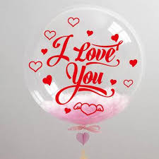 Romantic balloons with Love you printed on bubble transparent balloon