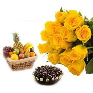 12 Yellow Roses+1/2 kg Cake+2 Kg Fruits