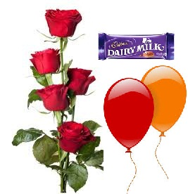 2 Air Blown balloons 5 Red roses hand tied 1 Dairy milk chocolate bar