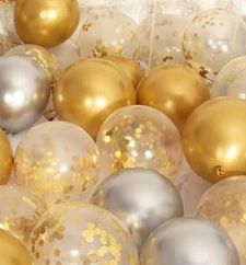 30 gold silver small large air confetti balloons
