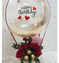 5 ferrero chocolate 5 roses with happy birthday printed air balloon