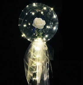 Clear transparent bubble with white rose white wrapping and lights